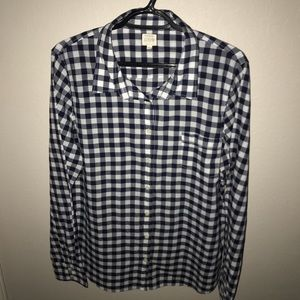 Navy and White Plaid J. Crew Button Up Shirt